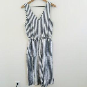 NWT! Splendid Linen Stripe Crop Jumpsuit